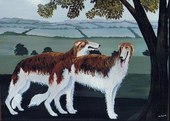 Borzoi Greeting Card featuring the photograph Untitled by Maggie Rowe