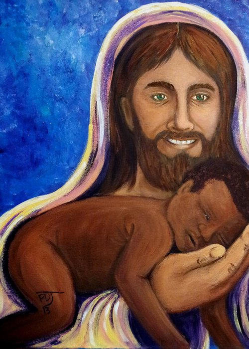 Son Greeting Card featuring the painting Unto You A Godly Son Is Given by Pamorama Jones