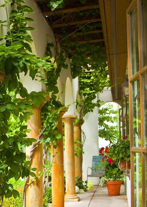 Garden Greeting Card featuring the photograph Up At The Villa by Theresa Tahara