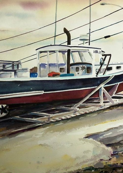 Perkins Cove Greeting Card featuring the painting Up For Repairs In Perkins Cove by Scott Nelson