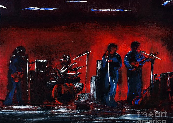 Band Greeting Card featuring the painting Up On The Stage by Alys Caviness-Gober