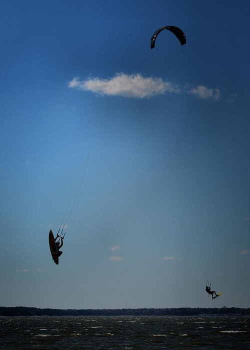 Kiteboarding Greeting Card featuring the photograph Up Up N Away by Robert McCubbin