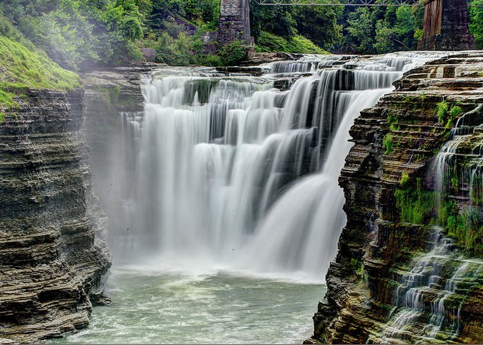 Letchworth State Park Greeting Card featuring the photograph Upper Letchworth Falls by Tony Shi Photography