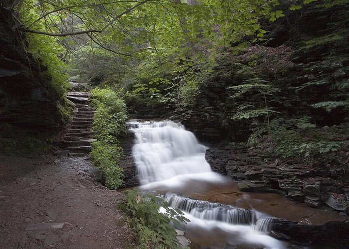 Mohican Greeting Card featuring the photograph Upper Tier Of Mohican Falls by Gene Walls