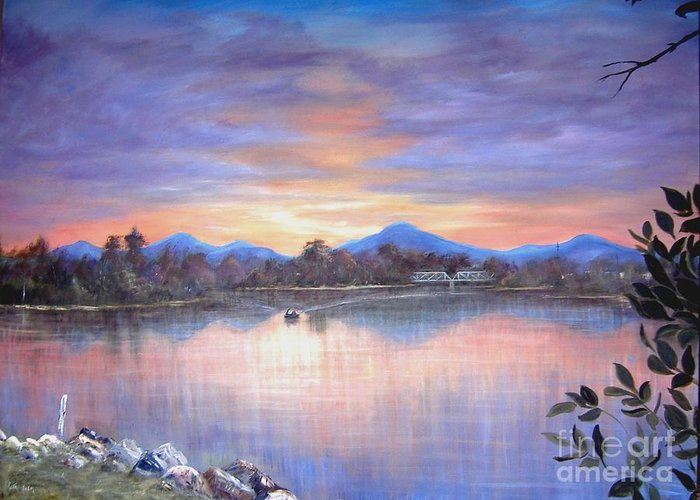 River Greeting Card featuring the painting Upriver by Rita Palm