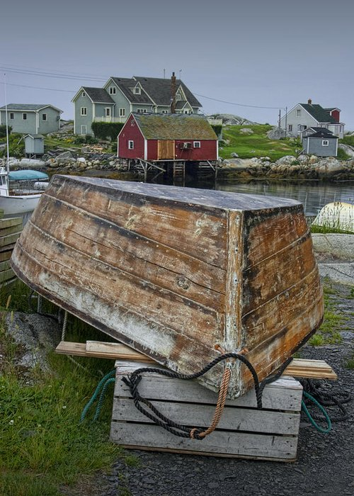 Harbour Greeting Card featuring the photograph Upside Down Boat In Peggy's Cove Harbour by Randall Nyhof