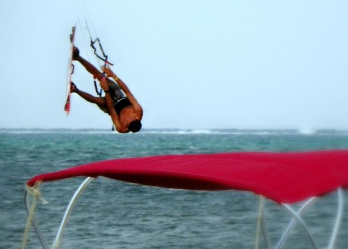 Wind Surfing Greeting Card featuring the photograph Upside Down World by Karen Wiles