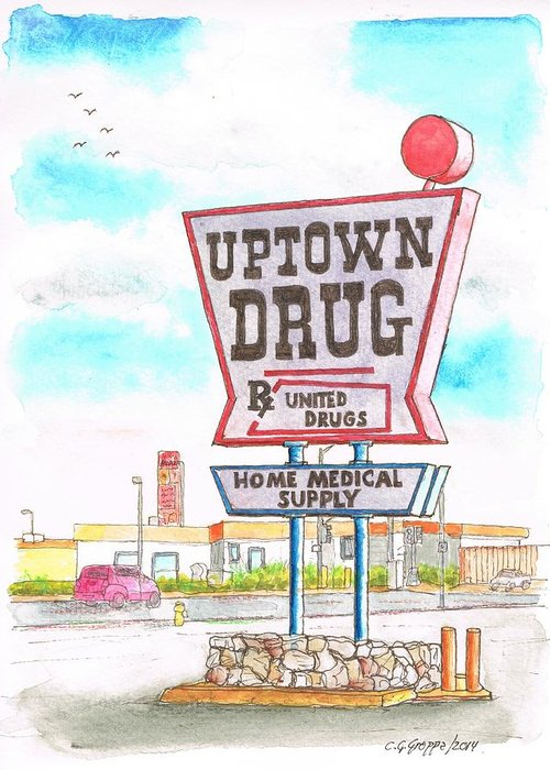 Uptown Drug Sign Greeting Card featuring the painting Uptown Drug Sing In Route 66, Andy Devine Ave., Kingman, Arizona by Carlos G Groppa