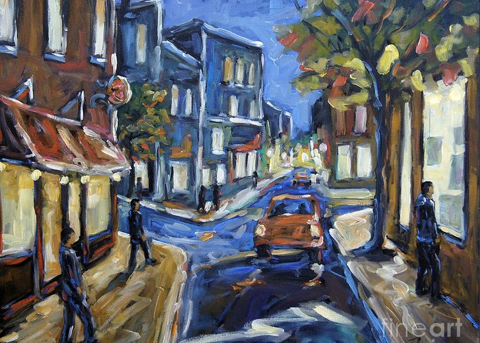 Canadian Rural Scene Created By Richard T Pranke Greeting Card featuring the painting Urban Avenue By Prankearts by Richard T Pranke