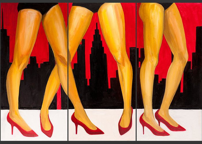 Urban Greeting Card featuring the painting Urban Heels by Claire Sun