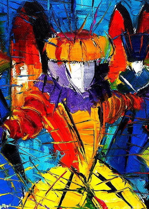 The Carnival Greeting Card featuring the painting Urban Story The Venice Carnival 2 Painting Detail by Mona Edulesco