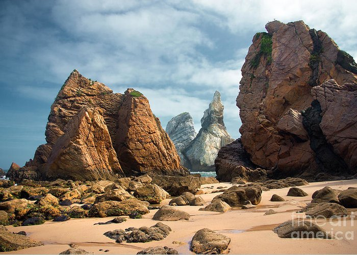 Abstract Greeting Card featuring the photograph Ursa Beach Rocks by Carlos Caetano