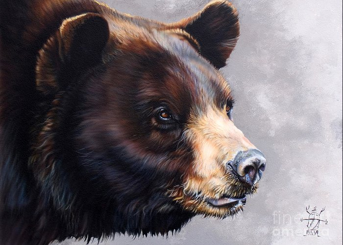 Bear Greeting Card featuring the painting Ursa Major by J W Baker