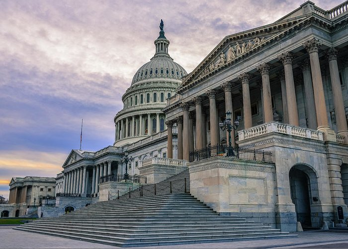 Tranquility Greeting Card featuring the photograph Us Capitol Building And Senate Chamber by Mbell