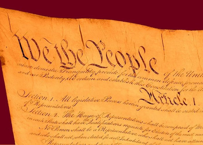 13 Greeting Card featuring the drawing Us Constitution Closeup Violet Red Bacjground by L Brown