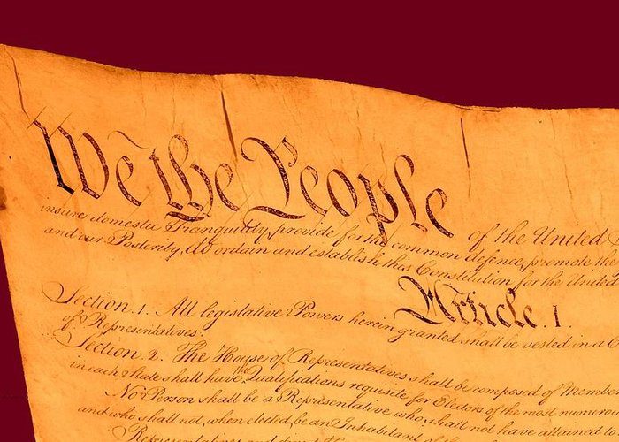 13 Greeting Card featuring the drawing Us Constitution Closest Closeup Violet Red Background by L Brown