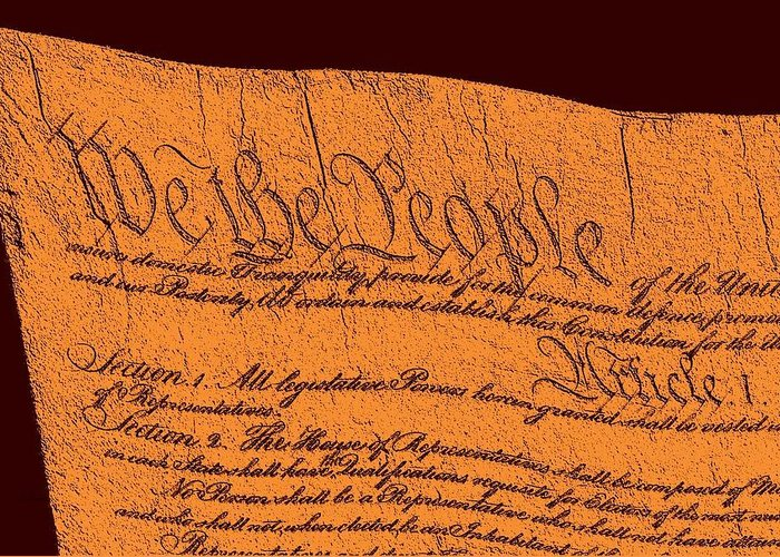 13 Greeting Card featuring the drawing Us Constitution Closeup Sculpture Red Brown Background by L Brown
