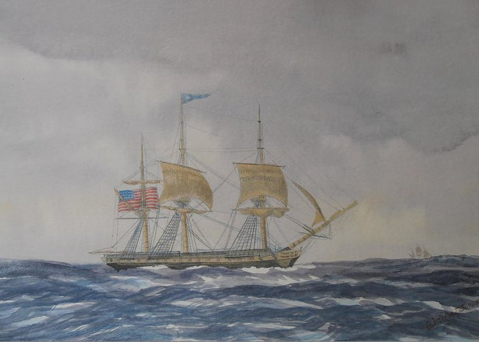 Watercolor Greeting Card featuring the painting Us Frigate Gives Chase In Stormy Weather by Elaine Jones
