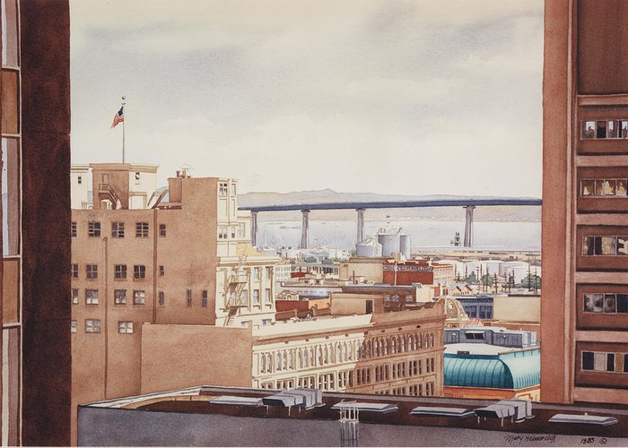 Us Grant Hotel Greeting Card featuring the painting Us Grant Hotel In San Diego by Mary Helmreich