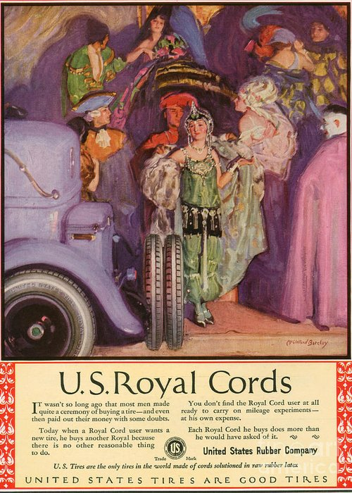 Adverts Greeting Card featuring the drawing Us Royal Cords 1924 1920s Usa Cc Cars by The Advertising Archives