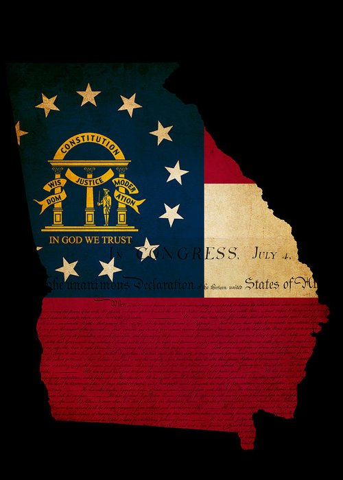 Usa Greeting Card featuring the photograph Usa American Georgia State Map Outline With Grunge Effect Flag A by Matthew Gibson