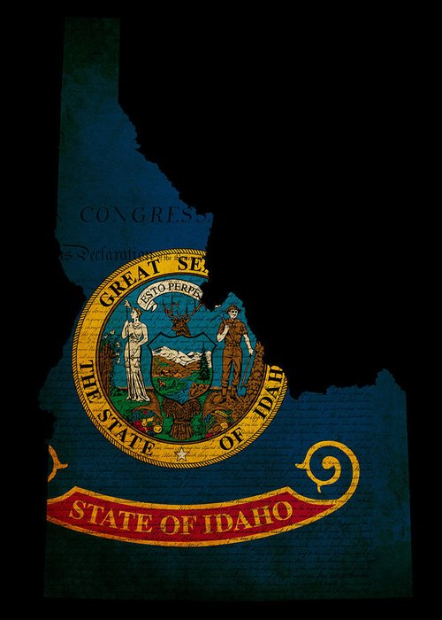 Usa Greeting Card featuring the photograph Usa American Idaho State Map Outline With Grunge Effect Flag And by Matthew Gibson