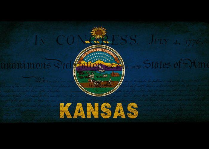 Usa Greeting Card featuring the photograph Usa American Kansas State Map Outline With Grunge Effect Flag An by Matthew Gibson