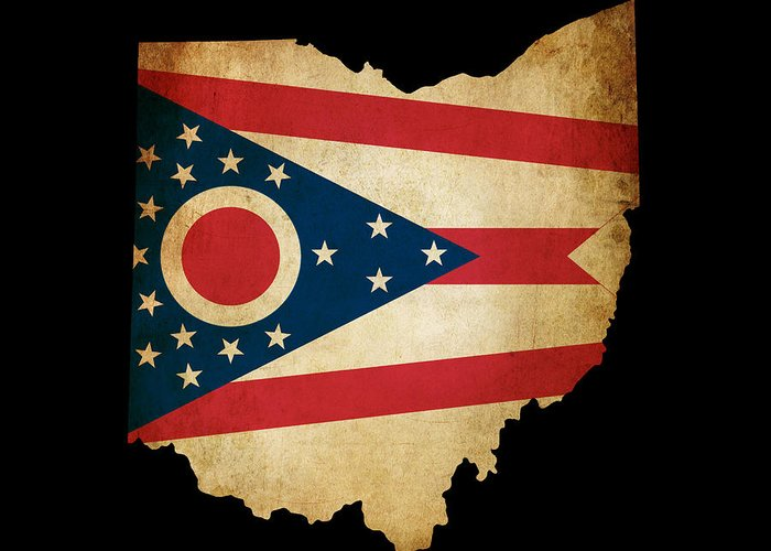 Map Greeting Card featuring the photograph Usa American Ohio State Map Outline With Grunge Effect Flag by Matthew Gibson