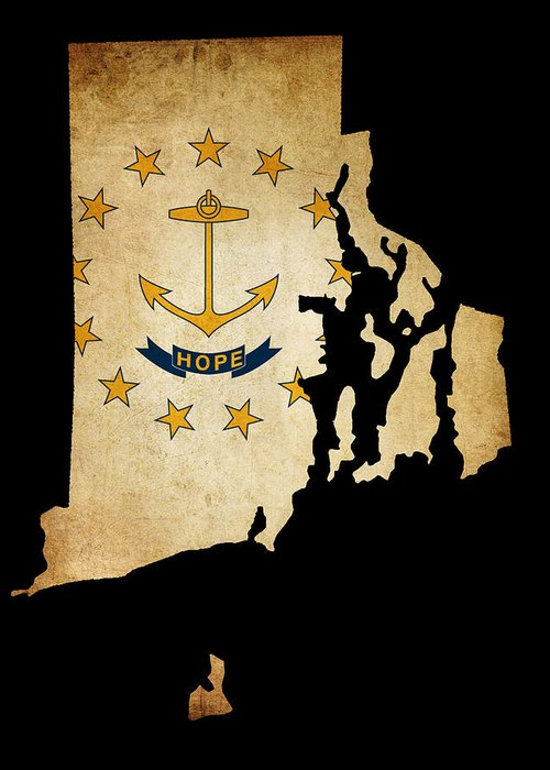 Map Greeting Card featuring the photograph Usa American Rhode Island State Map Outline With Grunge Effect F by Matthew Gibson