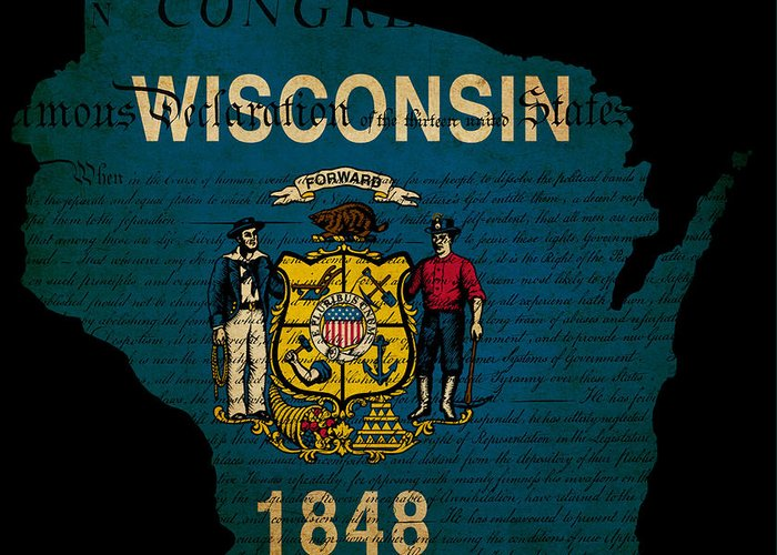 Map Greeting Card featuring the photograph Usa American Wisconsin State Map Outline With Grunge Effect Flag by Matthew Gibson