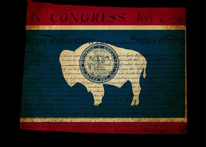 Map Greeting Card featuring the photograph Usa American Wyoming State Map Outline With Grunge Effect Flag I by Matthew Gibson