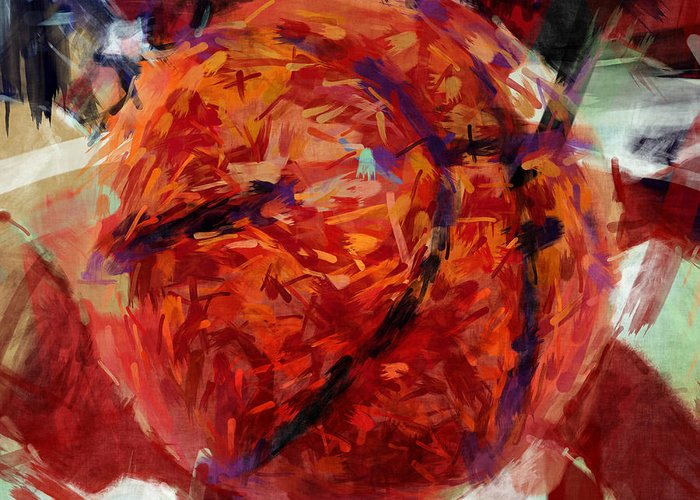 Basketball Greeting Card featuring the digital art Usa Flag And Basketball Abstract by David G Paul