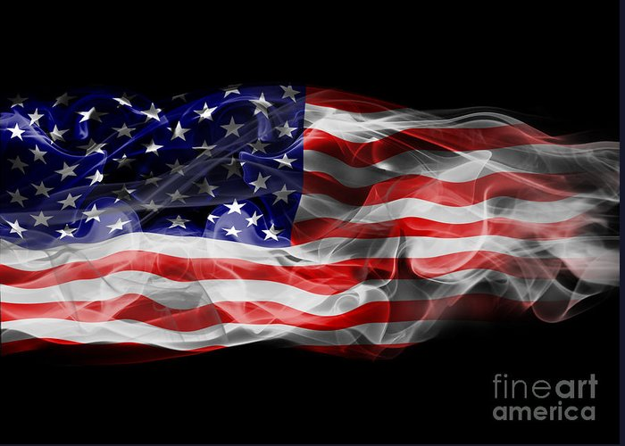 Flag Greeting Card featuring the photograph Usa Flag Smoke by Jt PhotoDesign