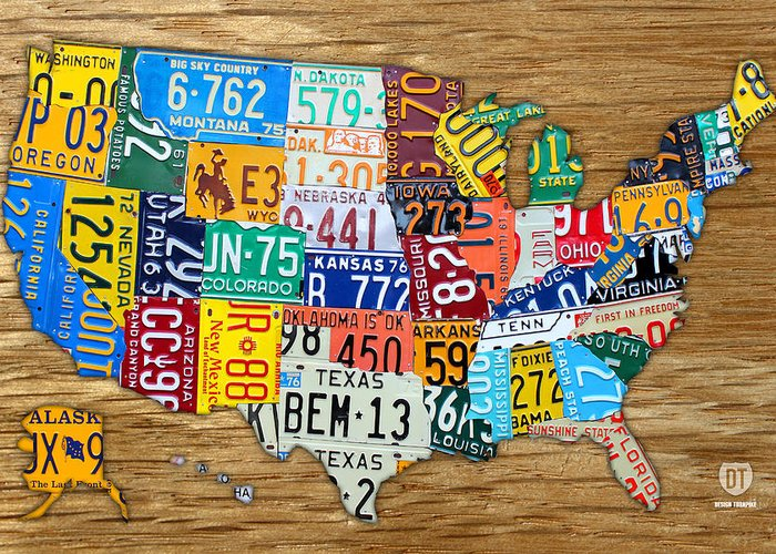 License Plate Map Greeting Card featuring the mixed media Usa License Plate Map Car Number Tag Art On Light Brown Stained Board by Design Turnpike