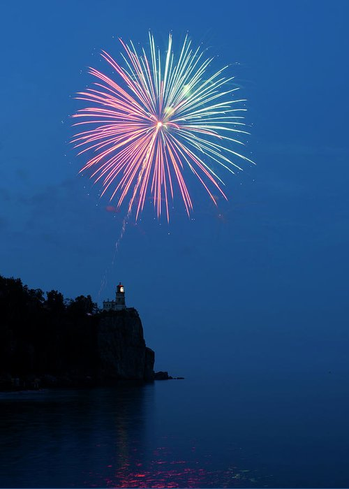 Firework Greeting Card featuring the photograph Usa, Minnesota, Two Harbors, Split Rock by Peter Hawkins