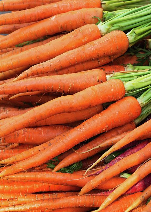 Orange Color Greeting Card featuring the photograph Usa, New York City, Fresh Carrots by Tetra Images