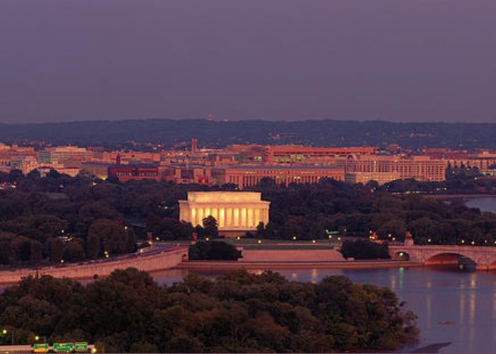 Usa Washington Dc Aerial Night Greeting Card For Sale By