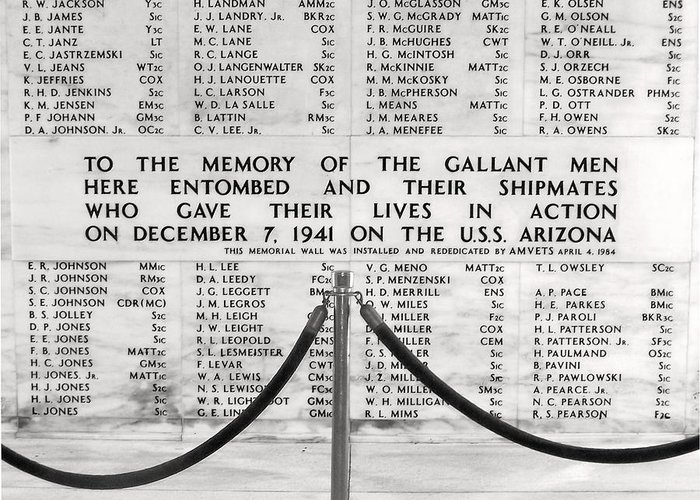Pearl Harbor Memorial Greeting Card featuring the photograph U.s.s. Arizona Pearl Harbor Memorial by Barbara West