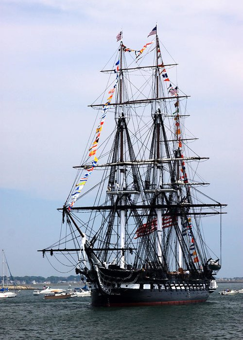 Historic Frigate Greeting Card featuring the photograph Uss Constitution by Nancy A Santry