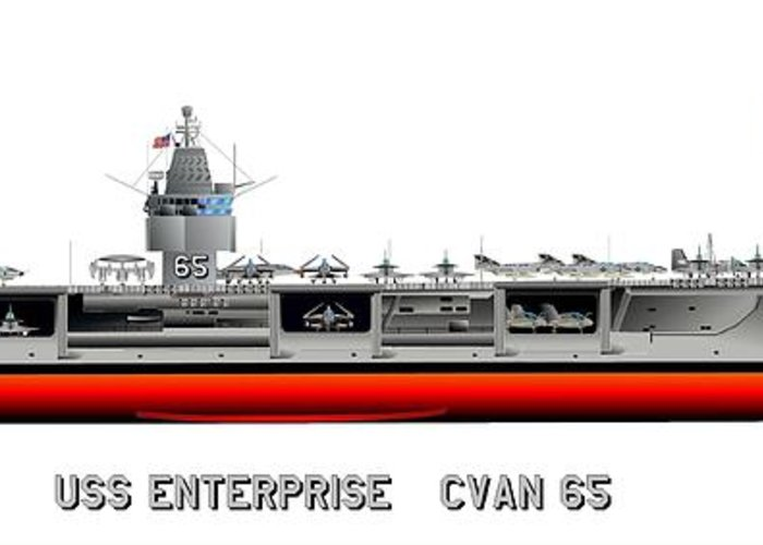 Uss Enterprise Cvn 65 1969 Drawing Greeting Card featuring the digital art Uss Enterprise Cvn 65 1969 by George Bieda