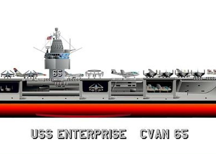 Uss Enterprise Cvn 65 1971-73 Drawing Greeting Card featuring the digital art Uss Enterprise Cvn 65 1971-73 by George Bieda