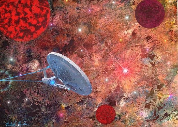 Star Trek Greeting Card featuring the painting U.s.s Enterprise -orion by Michael Rucker