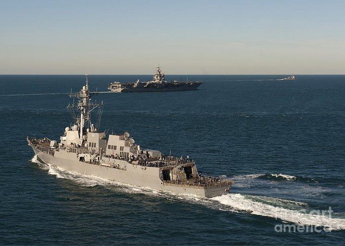 Military Greeting Card featuring the photograph Uss James E. Williams Is Underway by Stocktrek Images