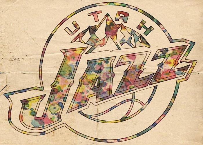 Utah Jazz Greeting Card featuring the painting Utah Jazz Poster Art by Florian Rodarte