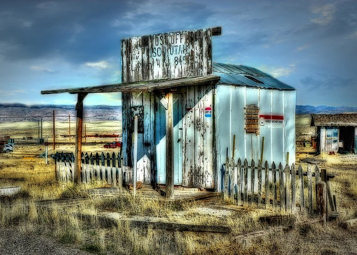 Utah Post Office. Architecture. Fence. Autumn Landscape. Old Vehicles. Old Car.grasses. Weeds. Cloudy Skies. Mountains. Photography. Print. Canvas. Texture. Hdr. Digital Art. Greeting Card. Poster. Wildlife. Nature.sand. Greeting Card featuring the photograph Utah Post Office by Mary Timman