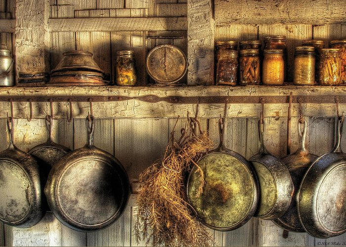 Kitchen Greeting Card featuring the photograph Utensils - Old Country Kitchen by Mike Savad