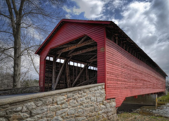 Utica Mills Greeting Card featuring the photograph Utica Mills Covered Bridge by Joan Carroll