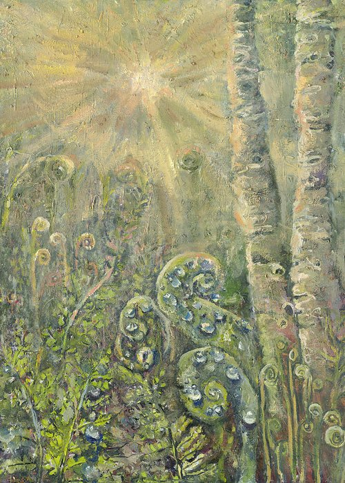 Landscape Greeting Card featuring the painting Utopia Fiddle Light by Patricia Trudeau