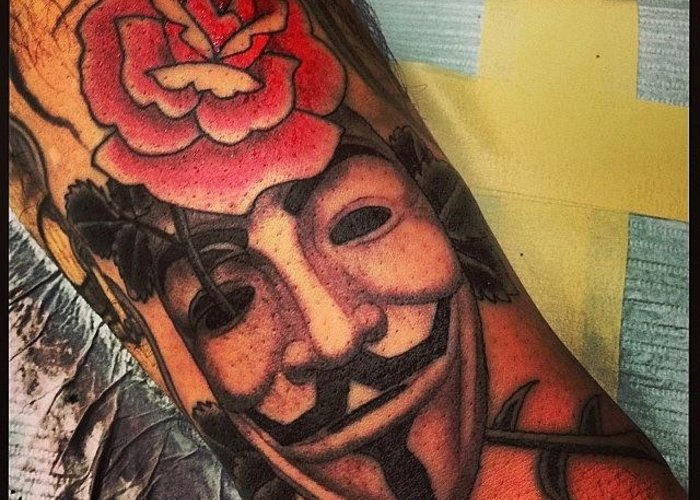 V Vendetta Rose Mask Tattoo Greeting Card For Sale By Chris