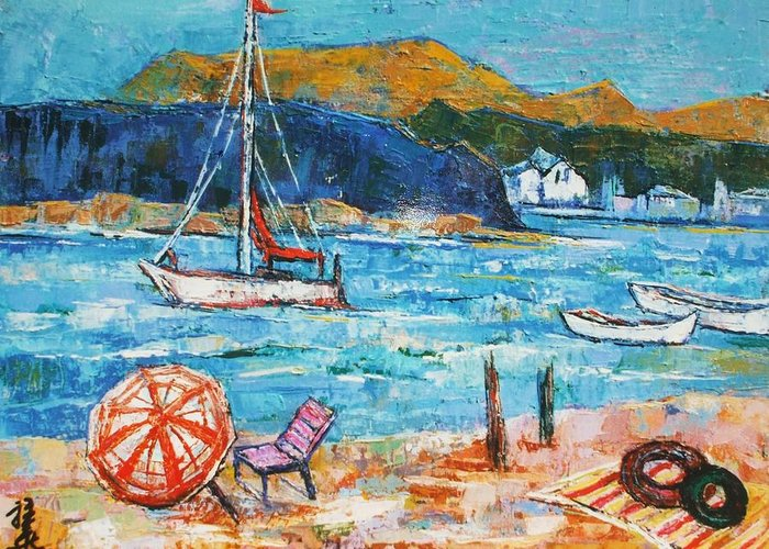 Seaside Greeting Card featuring the painting Vacation By The Sea by Siang Hua Wang